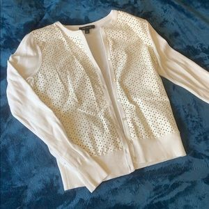 Ann Taylor cream leather detail cardigan